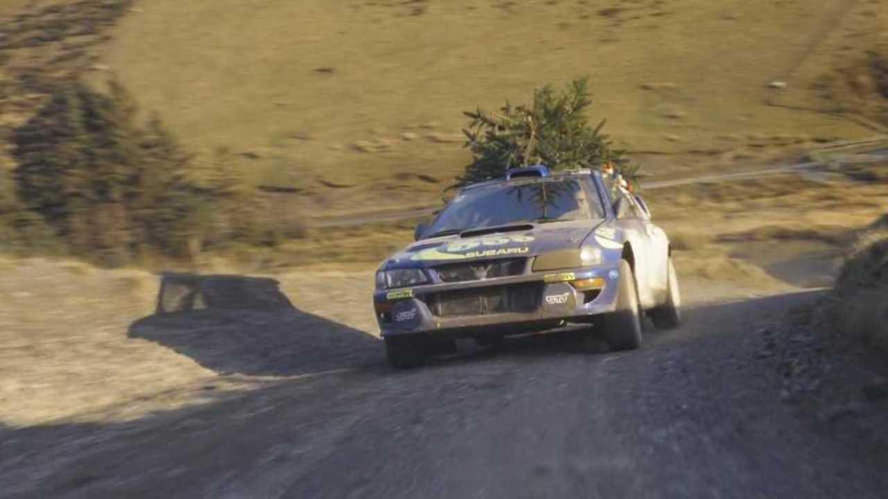 Watch this ex-Colin McRae WRC Subaru deliver a Christmas tree