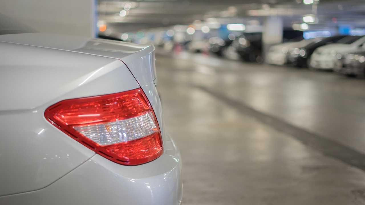 Rear end of car in parking garage