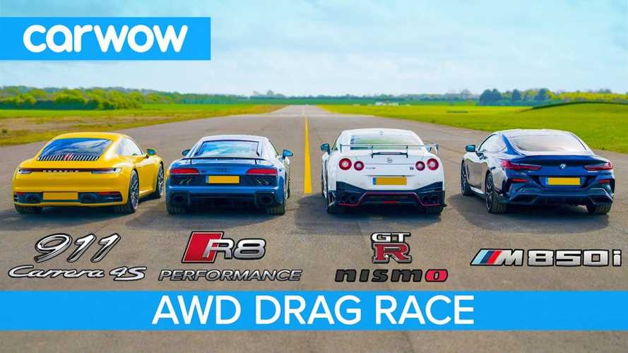 New 911 vs Audi R8, Nissan GT-R Nismo, BMW M850i in drag race