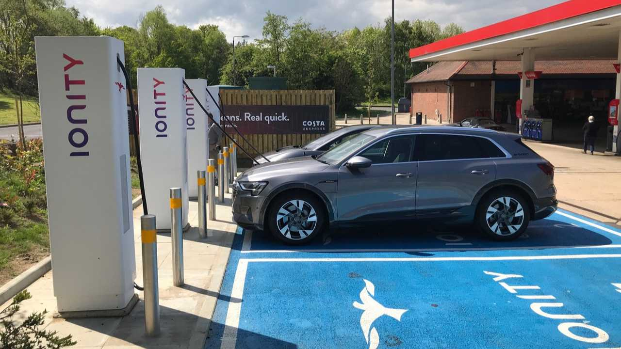 Audi e-tron at IONITY fast charging station in UK