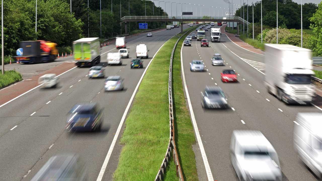 M6 motorway traffic moving at speed in UK