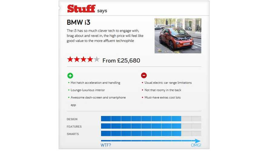Stuff Awards BMW i3 4 Out of 5 Stars