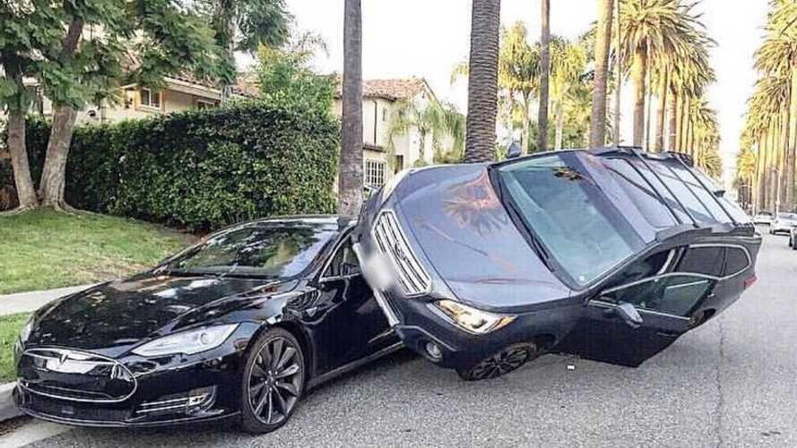 Wild & Crazy: Subaru Parks On Top Of Tesla Model S