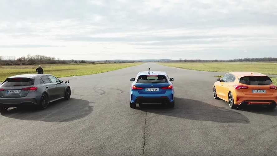 Can the Focus ST keep up with AMG A45 S and M135i in a drag race?