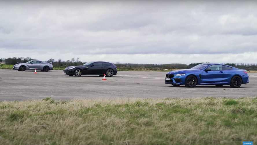 Modifiyeli Nissan GT-R, BMW M8 ve Ferrari GTC4Lusso ile yarışıyor
