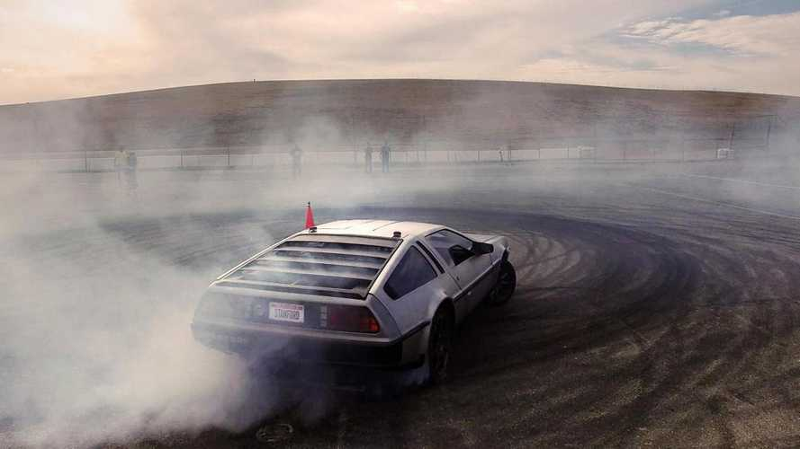 Watch this driverless EV DeLorean drift like a superstar