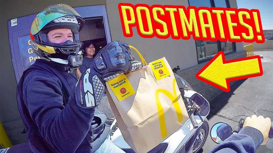 This Rider Is Helping Out By Delivering Postmates On His Bike