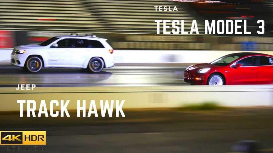 Watch Tesla Model 3 Drag Race A Jeep Grand Cherokee Trackhawk