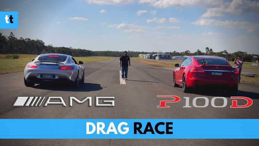 Watch Tesla Model S P100D Race Mercedes-AMG GT S