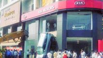 Kia Seltos crash at dealer in India