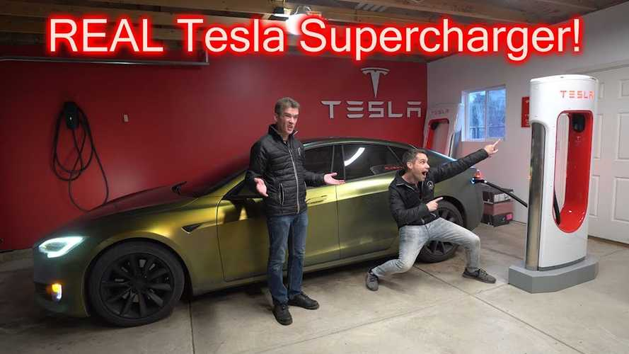 This Tesla Owner Has a Real Supercharger In His Garage: Video