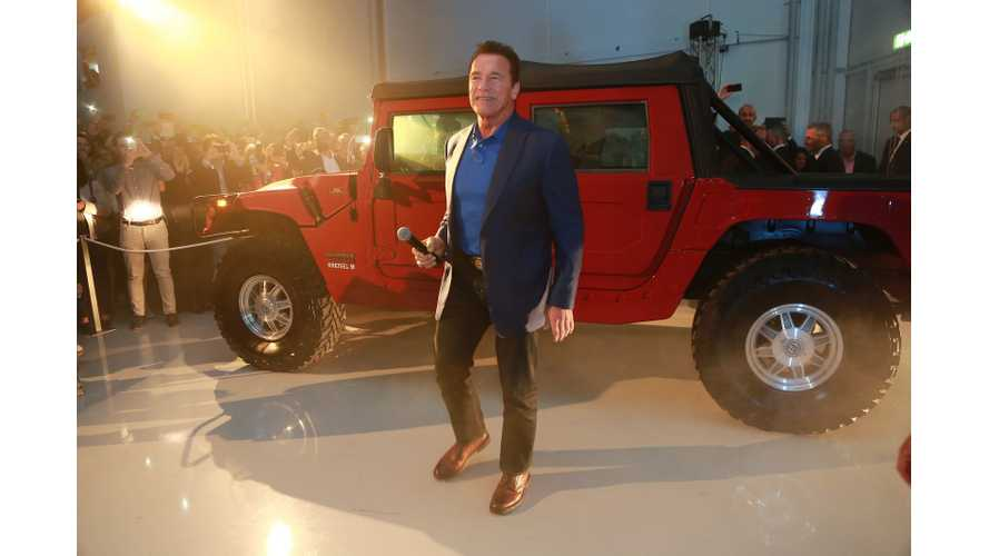 Arnold Schwarzenegger On Hand For Presentation Of World's First Electric Hummer H1