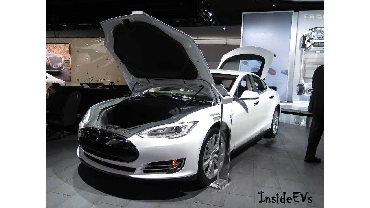 The Tesla Model S 85D (like the one we spotted at the NAIAS this January) Lead Tesla To A Yearly High In March