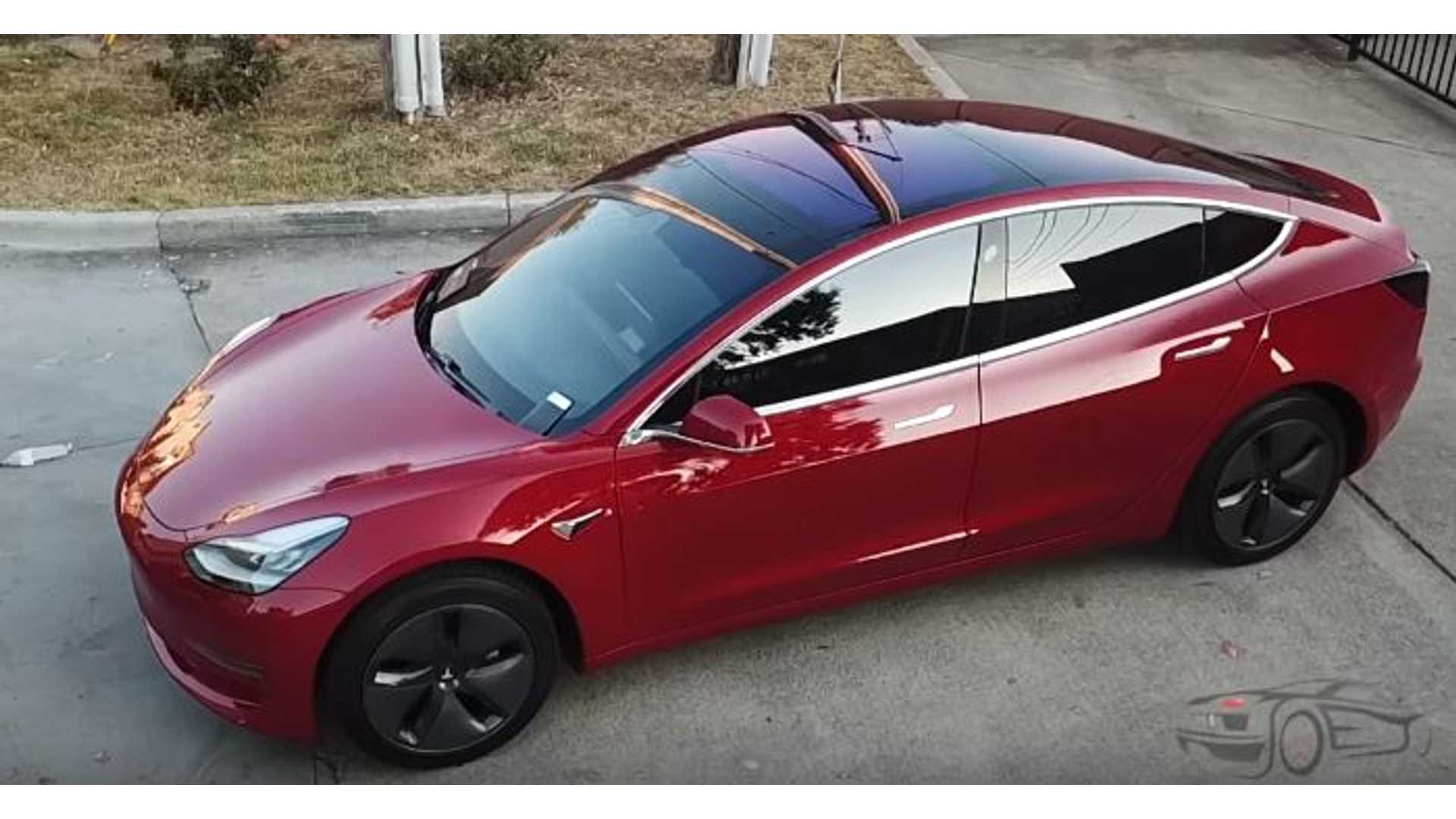 Red Window Tint >> First Red Tesla Model 3 With Tinted Windows Video