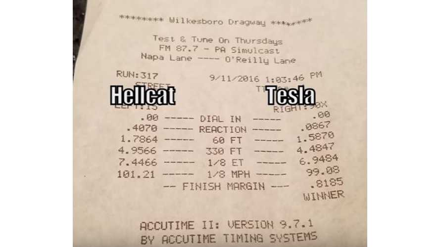 Tesla Model S P90DL Races Modded Hellcat Challenger & Charger - Video