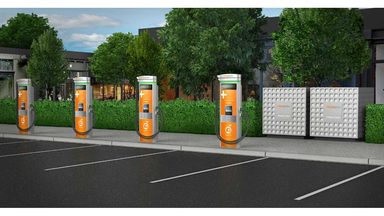 Fours ChargePoint Express Plus stations and two Power Cubes