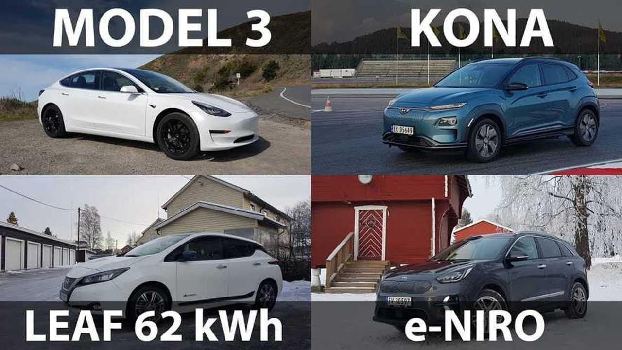 Tesla Model 3, Nissan LEAF e+, Kona EV, or e-Niro: Video ...