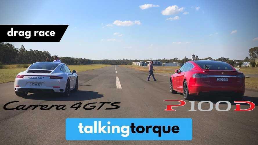 Tesla Model S P100D Vs Porsche 911 Carrera 4 GTS: Drag Race Video