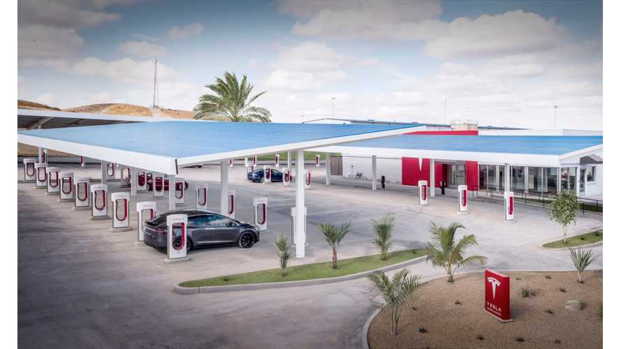 First Look At Tesla's Massive 40-Stall Supercharger - Video
