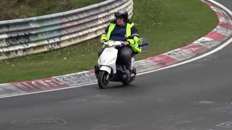 Big Guy On Small Scooter Touring The Nürburgring Is Our Hero