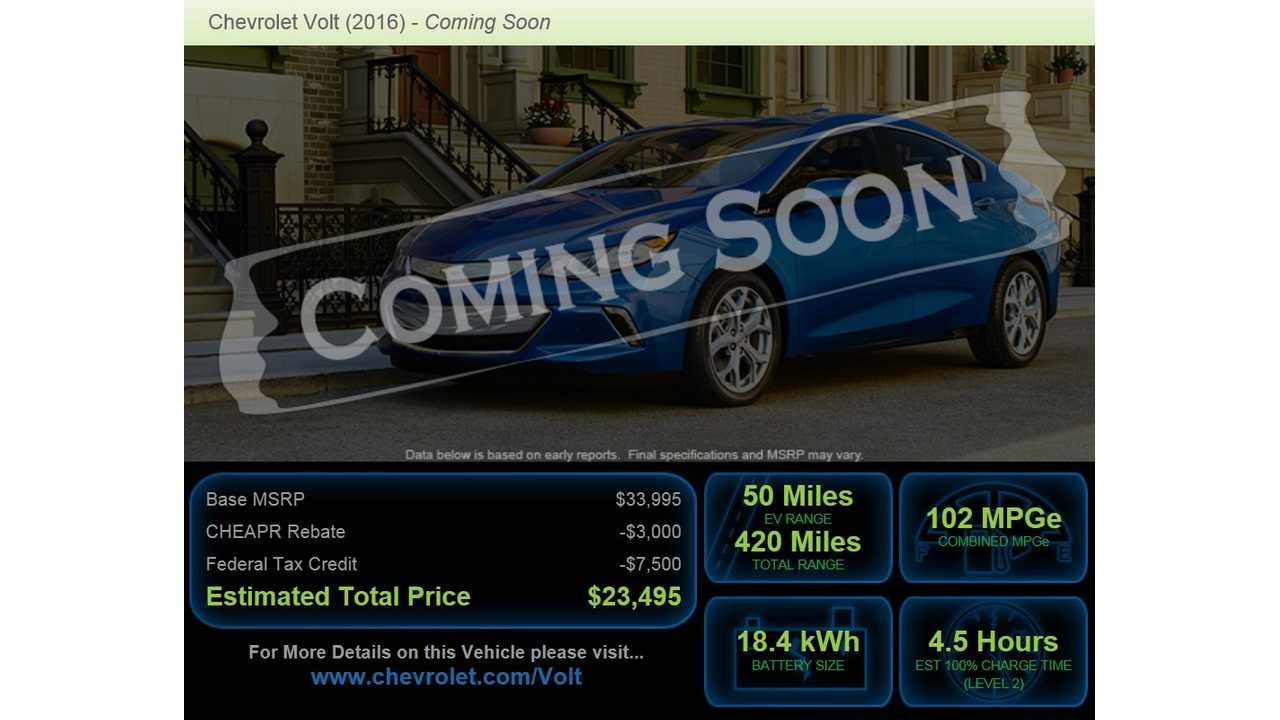 The New 2016 Chevrolet Volt Just Qualifies For Maximum 3 000 Rebate In Connecticut