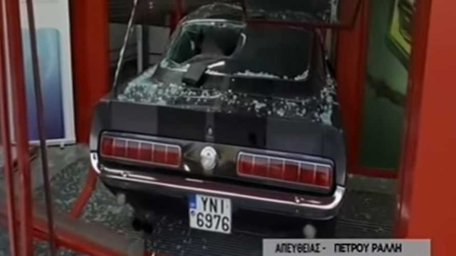 Robbers Deliberately Smash 1967 Ford Mustang Into Storefront