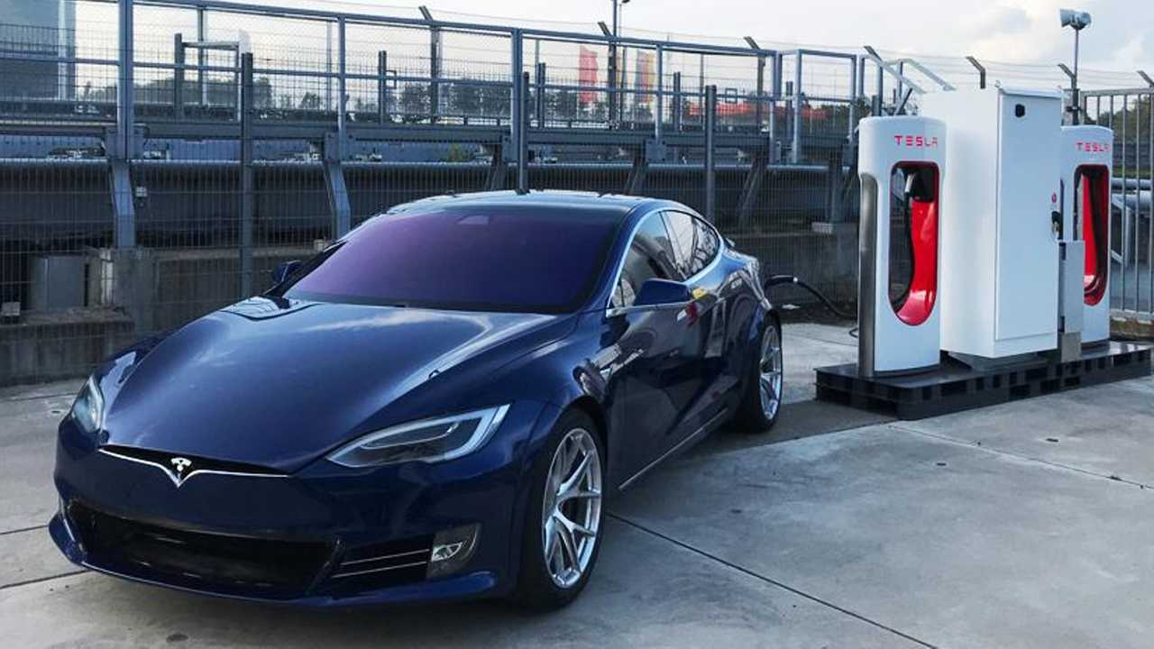 Tesla Models S Plaid at newly installed Supercharger at the Nurburgring