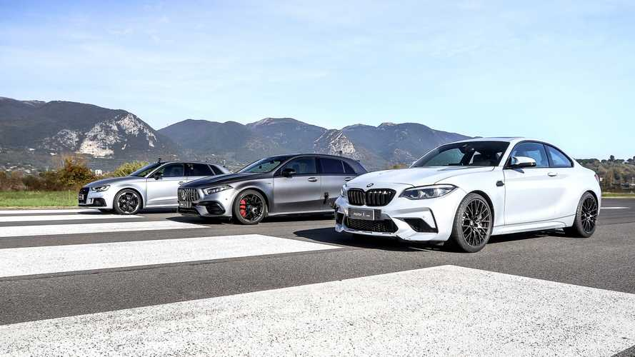 Drag race de compactos: Mercedes-AMG A 45 S vs. BMW M2 y Audi RS 3