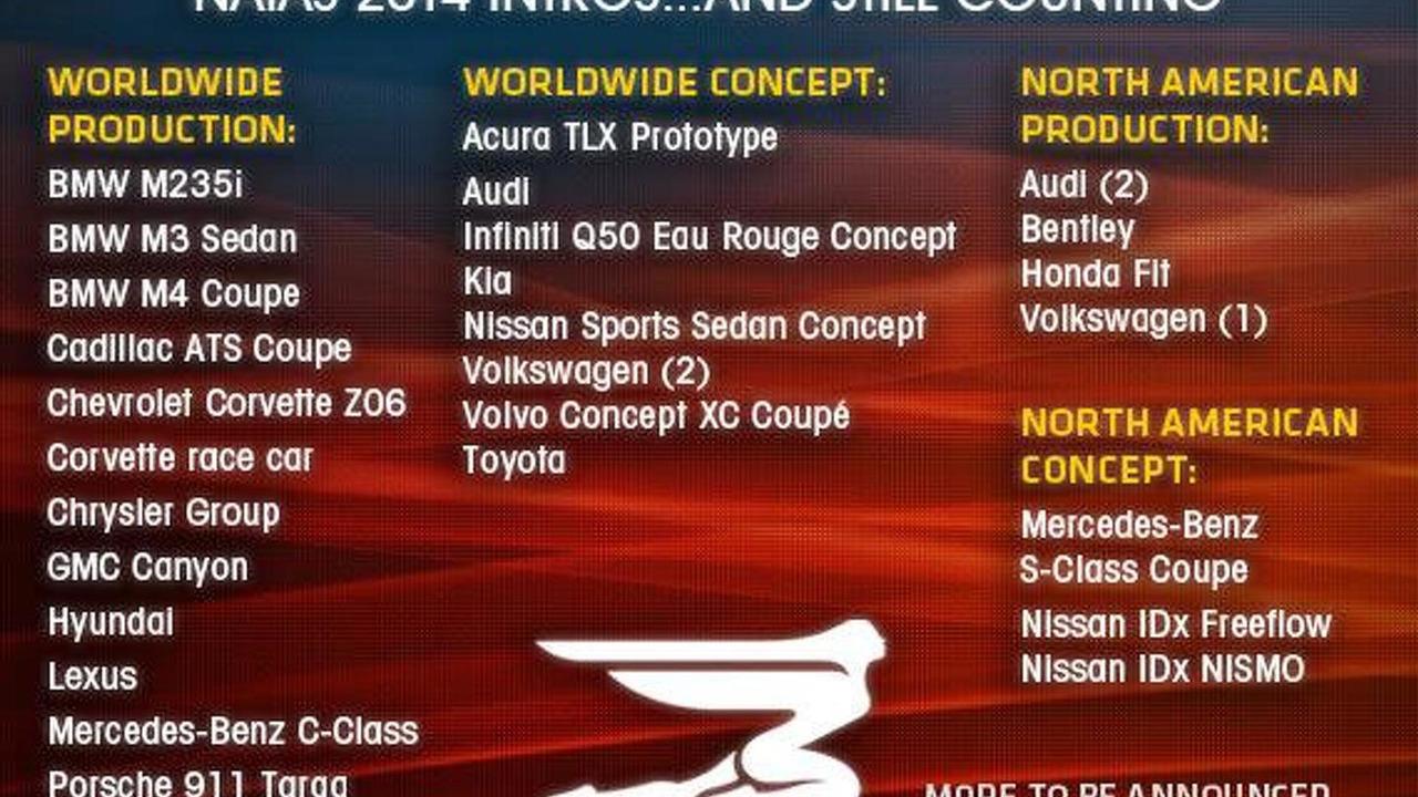 2014 North American International Auto Show debut list