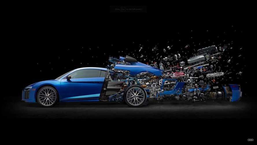 Atemberaubendes Audi R8 Explosions-Poster feiert V10-Motor