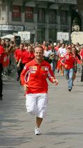 Vodafone Race event Rubens Barrichello beating Michael Schumacher (GER), BRA, Milan, Italian Grand Prix, 01.09.2005 Monza, Italy