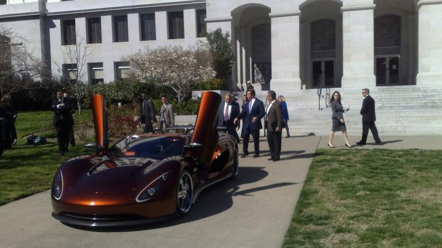 Governor Schwarzenegger Test Drives Ronn Motors Scorpion Supercar