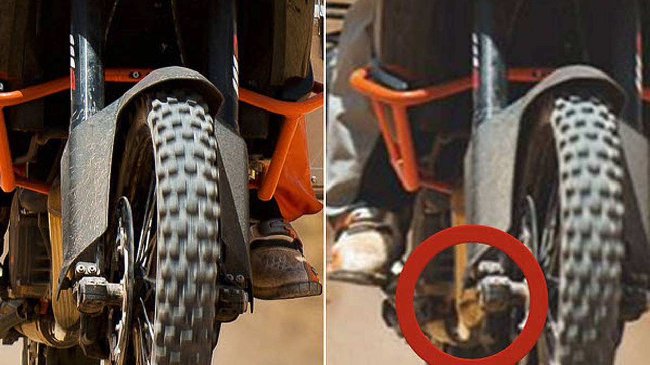 Why did KTM photoshop damage out of the 1190 Adventure photos?