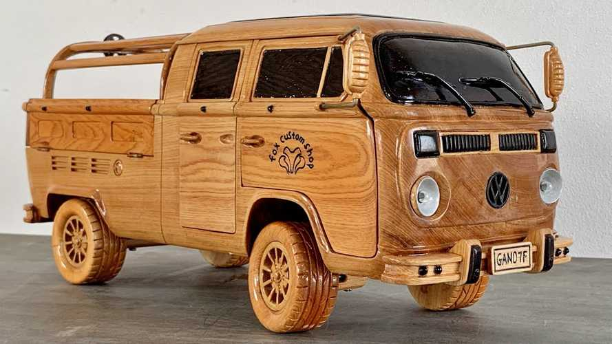 VW Type 2 Truck Gets Wood-Carved Replica While We Wait For ID Buzz