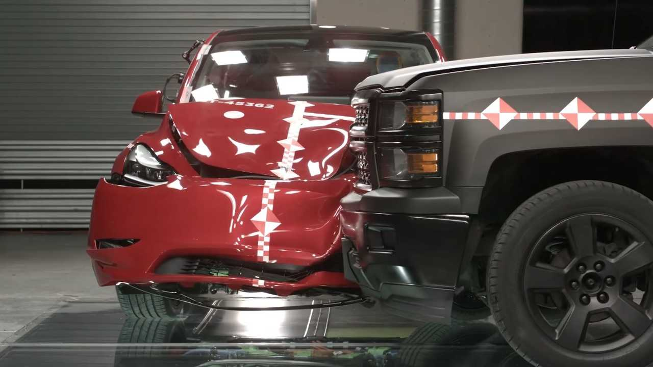 Watch Tesla Model Y Get Crushed By A Pickup In Tesla Crash Lab