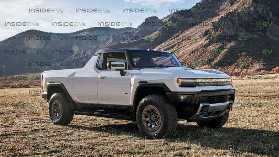 GMC Hummer EV Rendered In Two-Door Single-Cab Pickup Body Style