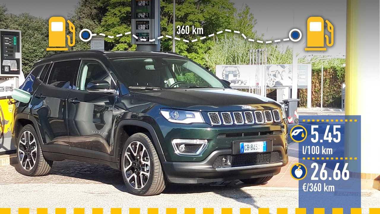 Jeep Compass 1.3 benzina, la prova consumi