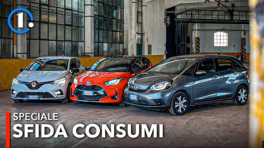 Consumi reali auto ibride: la sfida tra Yaris, Clio e Jazz