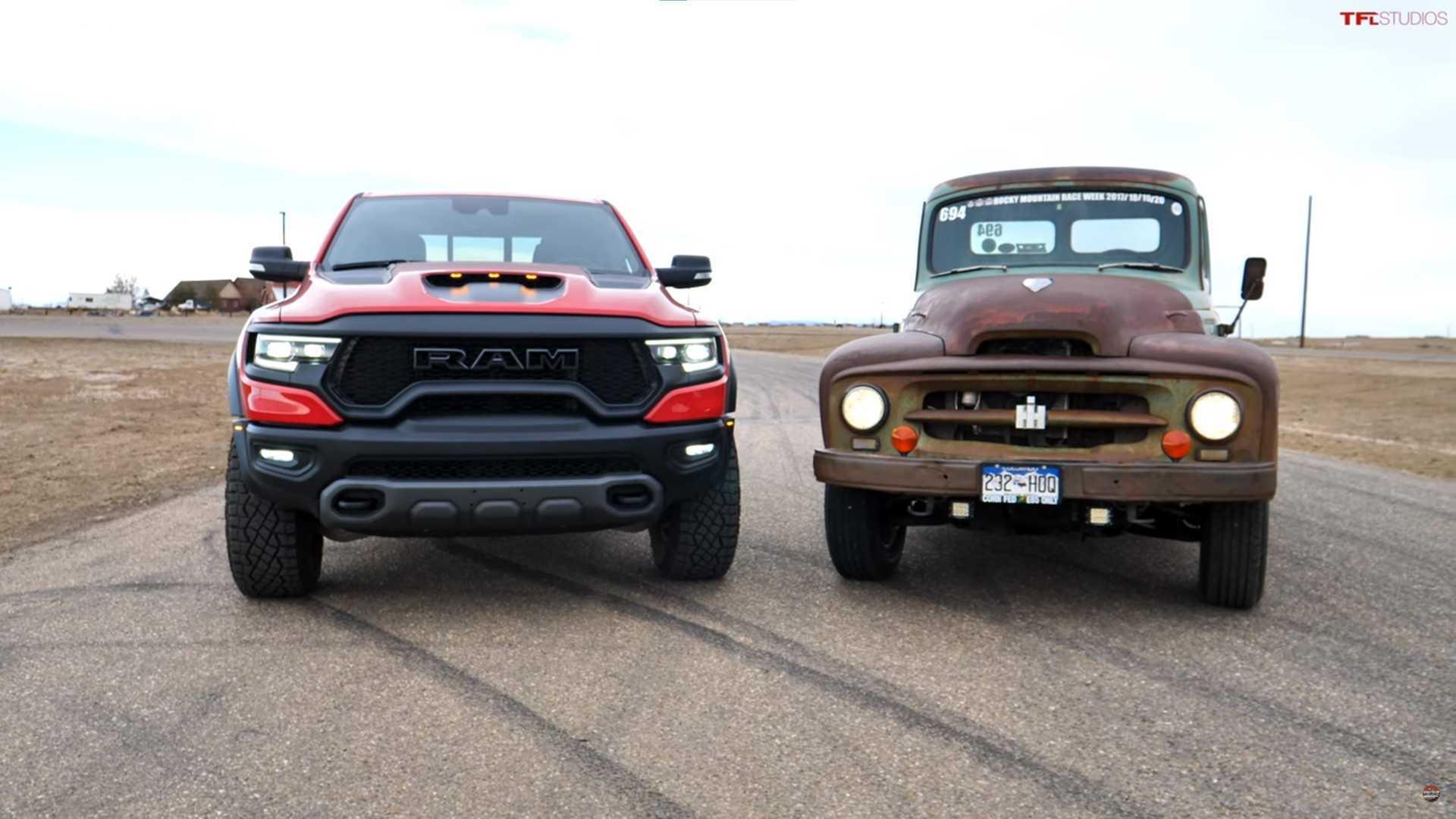 Watch Ram TRX Drag Race Sleeper V8 Rusty Truck - Motor1