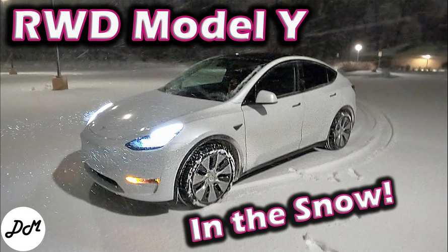 See How Tesla Model Y RWD Standard Range Fares In Snow On All-Season Tires