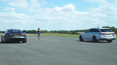 England Vs. Germany: Jag F-Type SVR Drag Races Mercedes-AMG E63 S