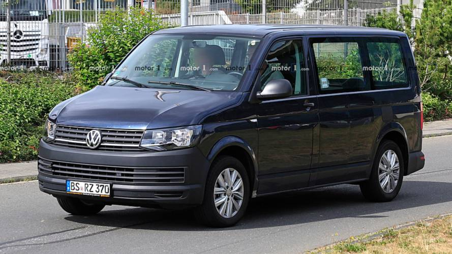 VW Transporter T7 Hybrid Mule Spied Wearing T6 Clothing