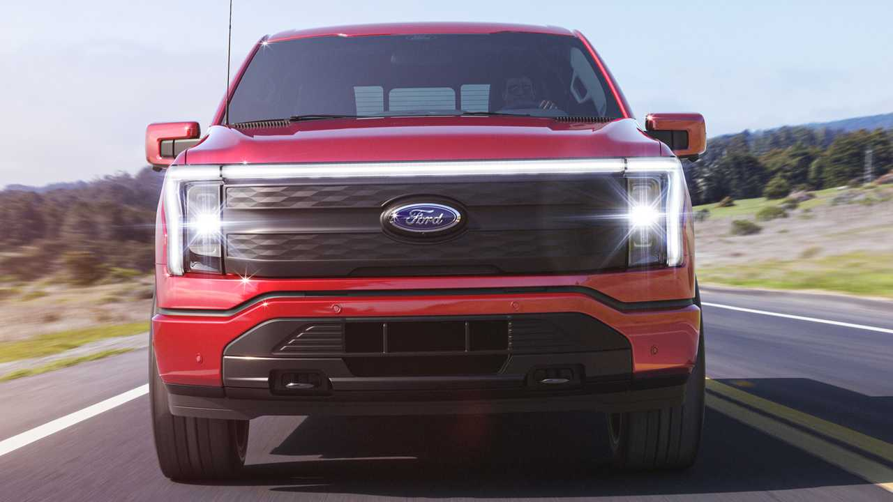 A close view of the front on the new Ford F-150 Lightning.