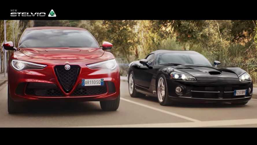 Dodge Viper Hesitates When Racing Stelvio Quadrifoglio In Alfa Ad