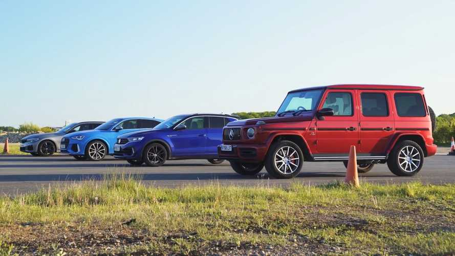 AMG G63 drag races a BMW M340i, Audi RSQ3, and VW T-Roc R
