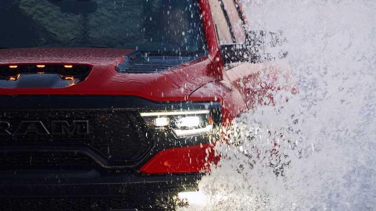The Ram TRX drives through water.