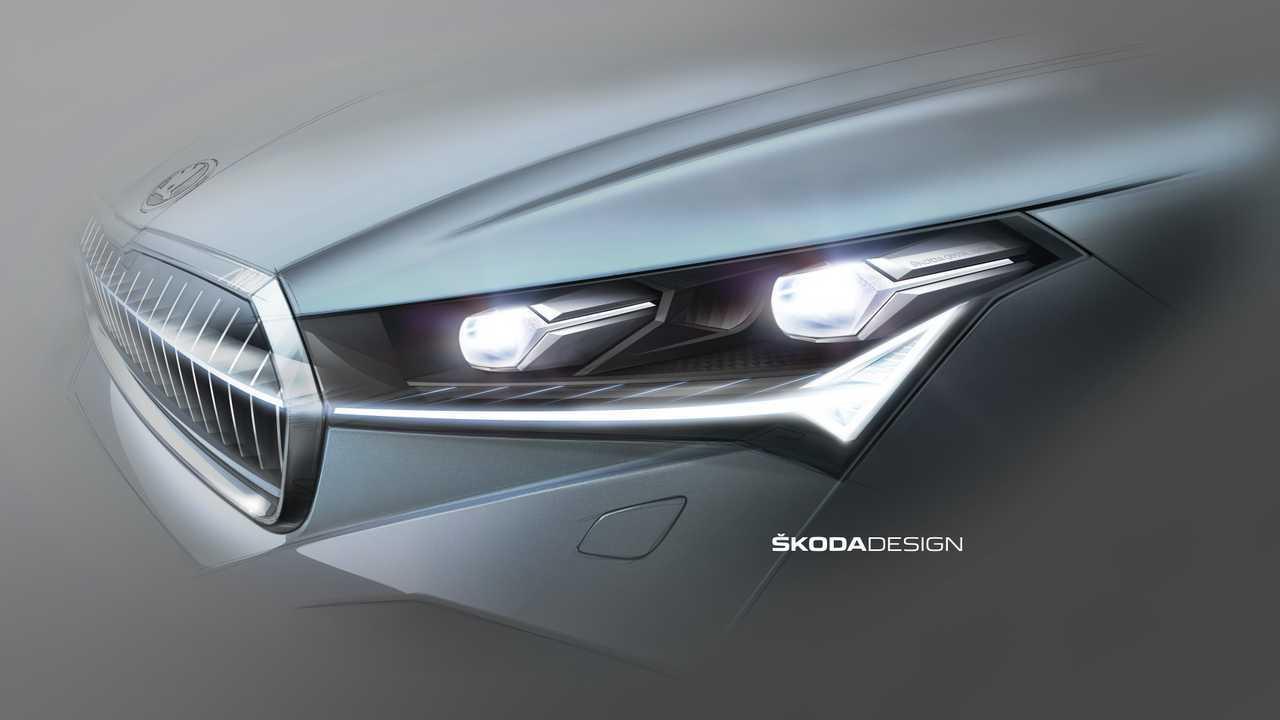 Skoda Enyaq iV: Designskizze der Scheinwerfer
