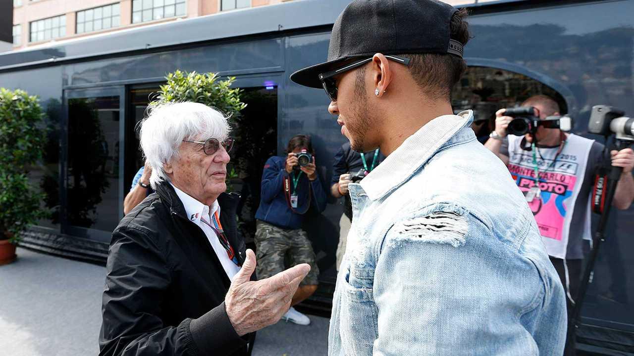 Bernie Ecclestone, CEO and President, FOM, and Lewis Hamilton, Mercedes AMG