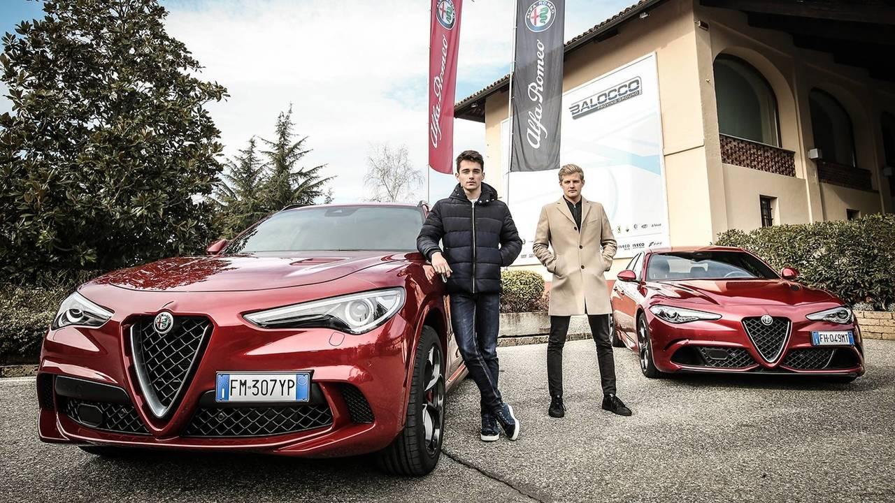 Charles Leclerc en Alfa Romeo Stelvio Quadrifoglio