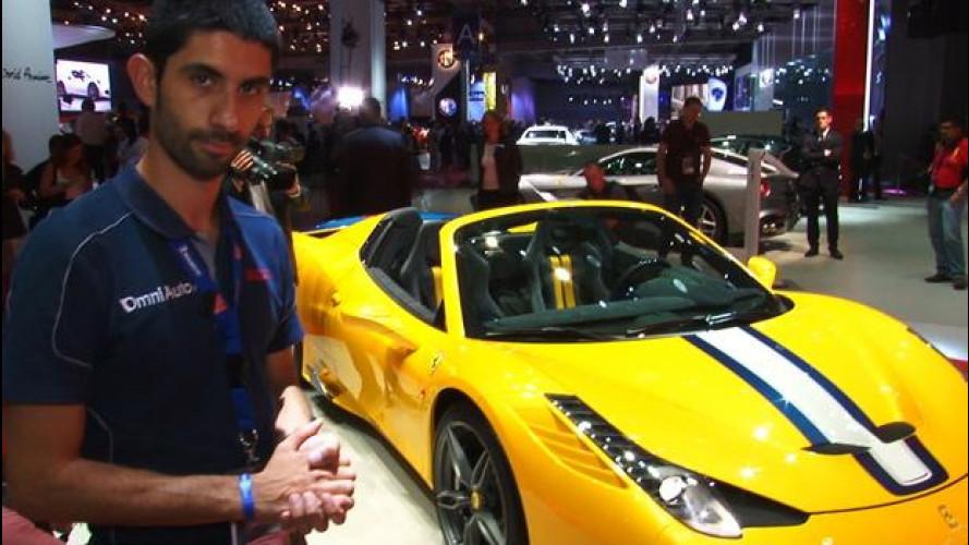 """Ferrari 458 Speciale A, la """"Rossa"""" gialla e blu emoziona a Parigi"""